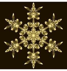 Golden Snowflake On A Dark Background vector image vector image