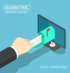 Isometric businessman hand getting mail vector image