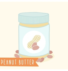 Peanut butter in jar vector image vector image