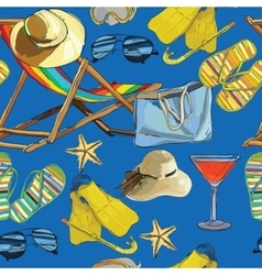 seamless pattern summer recliner on the sand with vector image