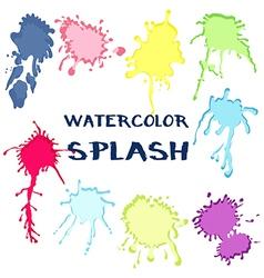 Set watercolor paint splash collection of color vector image