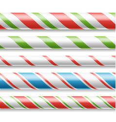 Xmas candy cane horizontal seamless vector