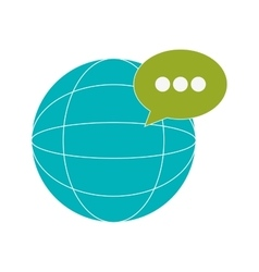 earth globe diagram and conversation bubble icon vector image
