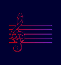 music violin clef sign g-clef line icon vector image vector image
