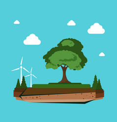nature landscape with wind turbine alternative vector image