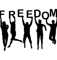 People silhouettes jumping and holding the letters vector image vector image