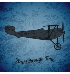 retro airplane on blue grunge background vector image vector image