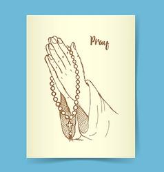 Sketch praing hands vector image