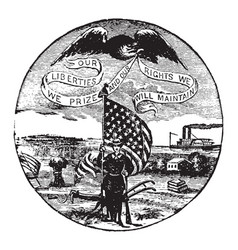 the official seal of the us state of iowa in 1889 vector image