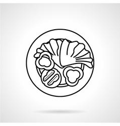 Vegetable salad black line icon vector image
