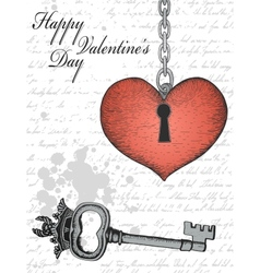 Vintage valentine card with hand-written heart and vector image