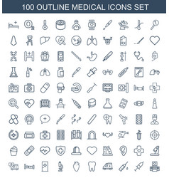 100 medical icons vector