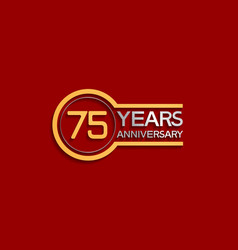 75 years anniversary golden and silver color vector
