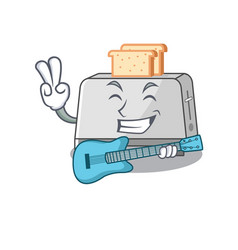 A picture bread toaster playing a guitar vector
