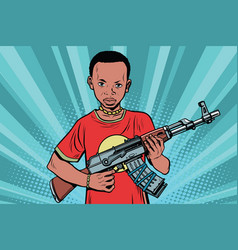 African boy with akm automatic weapons vector