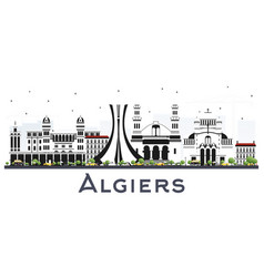 Algiers algeria city skyline with gray buildings vector