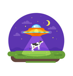 alien ship truing to abduct a cow at night vector image