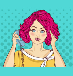 angry pop art woman chatting on retro phone comic vector image