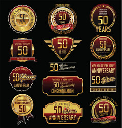 Anniversary golden labels and badges 50 years vector