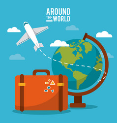around the world globe world plane suitcase sky vector image