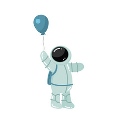 Astronaut standing and holding baloon in hand vector