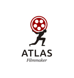 Atlas with film movie production logo design vector