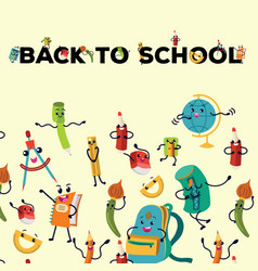 back to school flat poster education colorful vector image