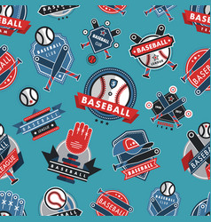 Baseball logo badge seamless pattern background vector