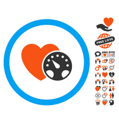 Blood pressure meter icon with love bonus vector