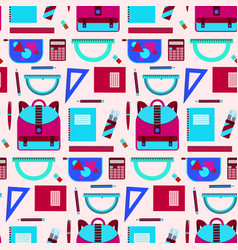 bright pink and blue school equipment pattern vector image