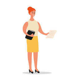 businesswoman is standing with a folder and vector image