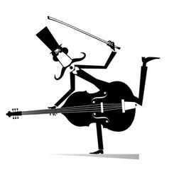 Cartoon long mustache cellist vector