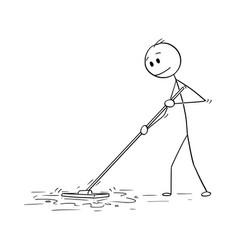 Cartoon of man cleaning floor with mop vector