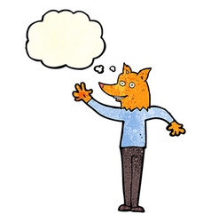 Cartoon waving fox man with thought bubble vector