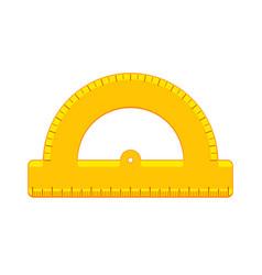 cartoon yellow protractor ruler flat icon vector image