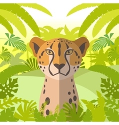 cheetah on jungle background vector image
