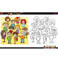 Child characters coloring book vector