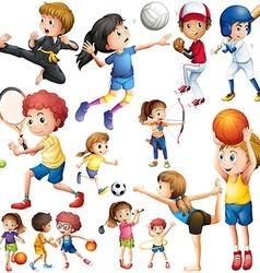 Children doing different kind sports vector