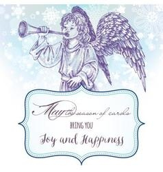 Christmas angel greeting card with frame for text vector image