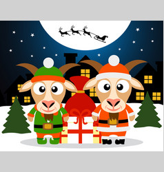 christmas card with goat santa claus and goat elf vector image