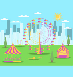 City park with attractions on the background vector