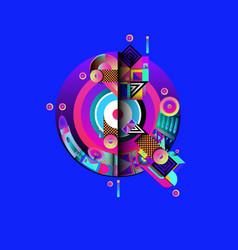 Colorful alphabet font letter q for logo vector