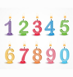 Colorful birthday candle number vector