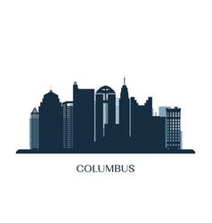 columbus skyline monochrome silhouette vector image