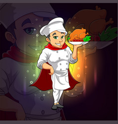 Cool chef is serving a chicken for esport logo vector