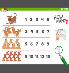 Counting activity with cartoon dogs animal vector