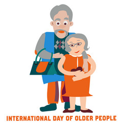 Couple in love for day of older people flat vector