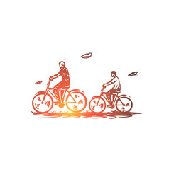 dad son bike active together concept hand vector image
