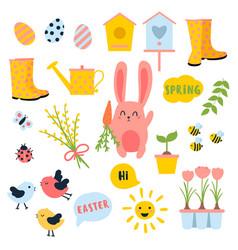 Easter spring set bunny eggs sun tulip vector