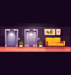 Empty hallway interior with elevator and sofa vector